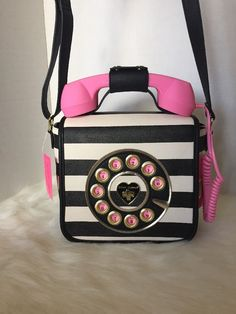 Betsey Johnson Call Me Baby Crossbody Stripe Pink Telephone Purse Call Me, Betsey Johnson, Style Inspiration, Purses, Telephone, Pink, Bags, Handbags, Handbags