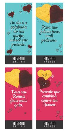 Tags para fixar nas dicas de presentes para uma campanha de namorados desenvolvida pela Agência Conceito para o cliente Elemento Básico.