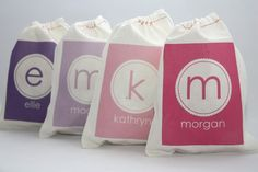 Scallop Initial Personalized Favor Bags  Set of 6 by papernook, $15.00  Love these! Big hit at my son's party. She personalizes each bag with a different name.