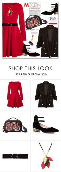 """""""Winter dress under $100"""" by jan31 ❤ liked on Polyvore featuring WithChic, River Island, Gucci, Kate Spade, Vero Moda, Marni, Edition and under"""