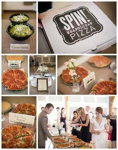 pizza buffet at wedding, wedding catered by SPIN pizza, Kansas City wedding photographers, Heather Brulez Photography