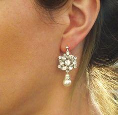 Vintage Style Rhinestone Earrings, Bridal Ivory Pearl Drop Earrings, MADELAINE