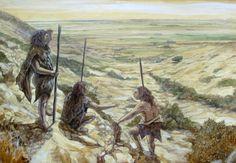 Neanderthals hunters in Pleistocene Murcia by Juan Navarro