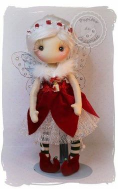 With pattern for doll and clothes! Christmas Fairy, Christmas Love, Christmas Crafts, Christmas Ornaments, Doll Clothes Patterns, Doll Patterns, Mini E, Fairy Clothes, Sewing Dolls