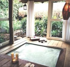 Living the dream :: simple + modern indoor jacuzzi / hot tub :: UXUA Casa Hotel, Brazil Style At Home, Outdoor Spaces, Outdoor Living, Outdoor Tub, Outdoor Baths, Outdoor Bathrooms, Outdoor Bedroom, Outdoor Stone, Outdoor Curtains