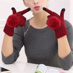 Women Female Girls Crochet Knitted Fur Ball Gloves Winter Warmer Mitten Full Finger Glove