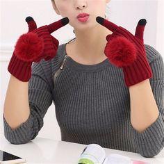 Women Female Girls Crochet Knitted Fur Ball Gloves Winter Warmer Mitten Full Finger Glove