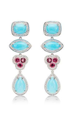 One Of A Kind Courtney Lauren Turquoise Rubelite And Diamond Earrings By Dana Rebecca