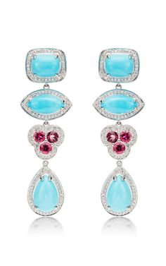 One Of A Kind Courtney Lauren Turquoise, Rubelite, And Diamond Earrings by Dana Rebecca for Preorder on Moda Operandi