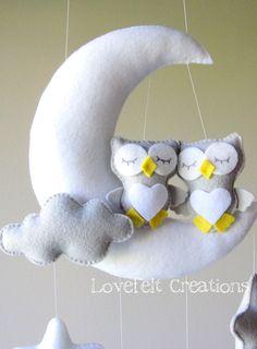 Mobile bébé Owl mobile Mobile bébé berceau par lovefeltmobiles