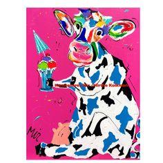Veelzijdig kunstenares Mir schildert met veel plezier de Hollandse  koeien . Artist Mir  loves to paint the cows from Holland in a happy funny colourful style www. kunstenaresmir.nl
