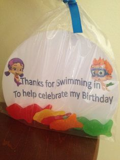 Bubble Guppies Favor Bag - would be cute with goldfish crackers! Second Birthday Ideas, 3rd Birthday Parties, Birthday Fun, Mermaid Birthday, Frozen Birthday, Bubble Party, Bubble Guppies Birthday, Bubble Guppies Cake, First Birthdays