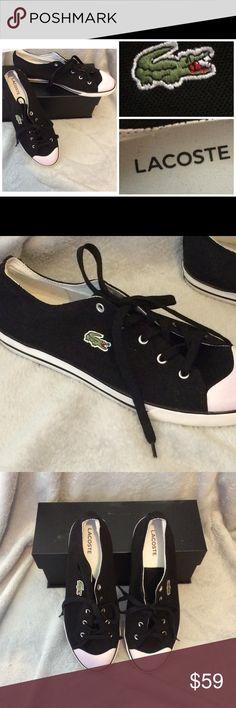46d4050e28a97d LACOSTE Men s Canvas Lace Up Casual Shoes For sale  LACOSTE Men s  Black White Canvas
