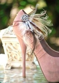 pink feathered heels