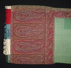 Shawl | V&A Kashmir shawl in that green you see in the fashion plates. Early 19th c.
