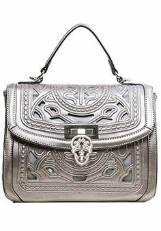 Shirley Top Handle Bag In Perforated Leather Sliver Grey