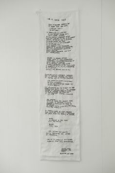 Embroidered text: 2012 'Ichi Go Ichi é' by Rieko Koga (born in Tokyo; based in Paris since 1993)