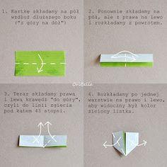 Stonogi.pl - blog sklepowy: Gałązki pełne liści - kurs krok po kroku Origami Wall Art, Diy Origami, Origami Paper, Paper Flower Tutorial, Paper Flowers Diy, Origami Leaves, Diy And Crafts, Paper Crafts, Origami Heart