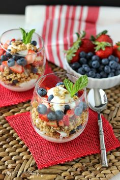 Berry Fruit and Yogurt Granola Parfaits are a quick, healthy and a delicious breakfast.