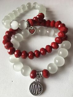 Red and white bracelets by Embellishbyme on Etsy