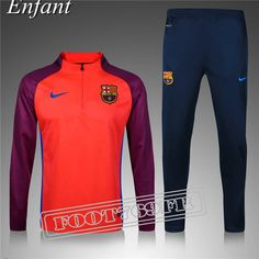 Promo:Nouveau Survetement Barcelone Enfant Pourpre/Orange 2016 2017 | Foot769Fr