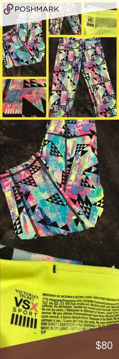 Like New Victoria's Secret VSX Sport Crop Pants Like new Victoria's Secret VSX Knockout Crop Pants.  Size small.  Pinks, black, neon yellow, light blues,navy blues.  No trades.  Will price drop. Victoria's Secret Pants Ankle & Cropped