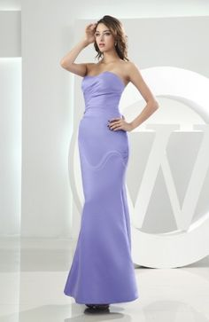 Lavender Elegant Sweetheart Sleeveless Backless Satin Ankle Length Bridesmaid Dress