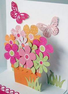 pop up card ... flower basket