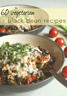 60 vegetarian black bean recipes. I have at least one meat free entree on my Shrinking On a Budget Meal Plans every week, so this is a post I will be combing through for ideas. Vegetarian Burrito, Veggie Burrito, Vegetarian Dinners, Burrito Bowls, Vegan Vegetarian, Healthy Bean Recipes Vegetarian, Vegetarian Mexican Food, Going Vegetarian, Healthy Meals