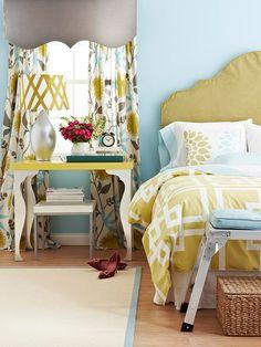 blue & yellow happy bedroom