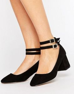 Mid height block heel with ankle straps