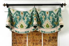 Claudine Curtain Valance Sewing Pattern mounted on a rod. www.patemeadows.com
