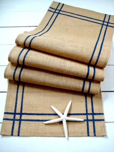 Hey, look! Burlap WITH navy blue stripes! I could see him appreciating this more than lace... maybe every other table could be striped and lace?!?