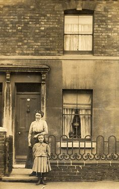 Mother and child outside terrace house by lovedaylemon Antique Photos, Vintage Pictures, Vintage Photographs, Old Pictures, Vintage Images, Old Photos, Victorian Pictures, Victorian London, Victorian Terrace