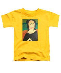 Patrick Francis Yellow Designer Toddler T-Shirt featuring the painting Mona Lisa 2014 - After Leonardo Da Vinci by Patrick Francis