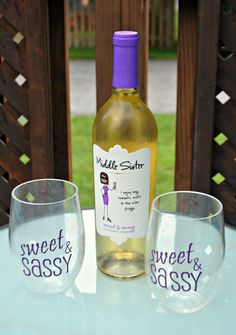 Sweet and Sassy Moscato Glasses Middle Sister Wine, Diy Wine Glasses, Personalized Tumblers, Wines, Sassy, Wine Lover, Bottle, Sweet, Image Search