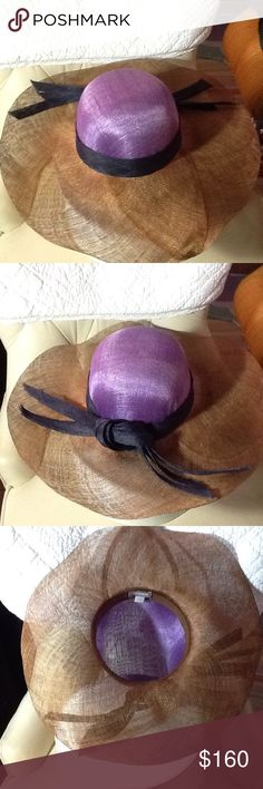 Beautiful wide brim Nordstrom straw hat. Large woven dressy hat. Three ribbons around the brim that tie in the back. Never worn! It is not packable unless protected. Looks good on everyone. Dark tan brim with lavender crown. Nordstrom Accessories Hats