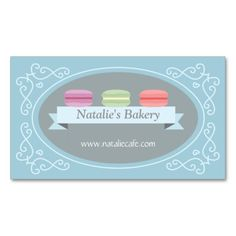 Elegant, Modern, Sweet Macaron, Bakery, Confection Double-Sided Standard Business Cards (Pack Of 100). Make your own business card with this great design. All you need is to add your info to this template. Click the image to try it out!