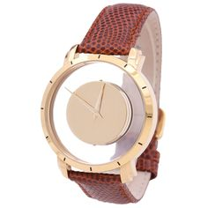transparent face watch, leather