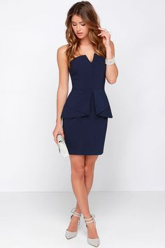 Just Watch Navy Blue Strapless Dress at Lulus.com!