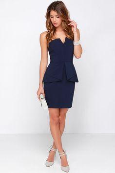 Just Watch Navy Blue Strapless Dress at Lulus.com!
