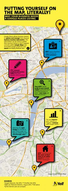 Putting Yourself On The Map, Literally! – #Infographic. Google isn't just the biggest search engine in the UK – it also offers some additional services to help businesses market themselves online. One such service is Google Places; the local business listings that appear to be pinned to a map when your search results are shown.