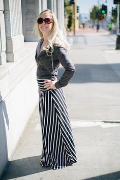 Cute faux leather crop jacket and maxi striped skirt, stylish!