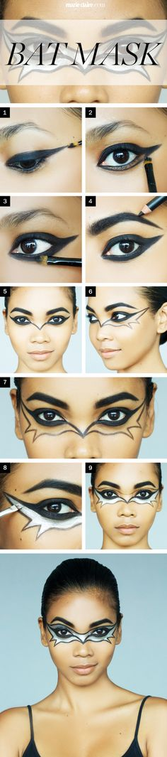 Hallowee Makeup How-To Bat Girl Mask - Halloween Makeup Ideas - Marie Claire