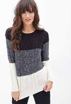 Colorblocked Cable Knit Sweater | Black and Cream http://www.forever21.com/Product/Product.aspx?br=f21&category=sweater&productid=2055880049&SizeChart=&utm_medium=cpc&utm_source=pinterest&utm_campaign=mercent-pinterest&mr:trackingCode=E1C59D86-3848-E411-B961-001B21BCC0BC&mr:referralID=NA