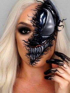 Creepy venom makeup for Halloween Simple Cat Makeup, Cool Makeup Looks, Creative Makeup Looks, Crazy Makeup, Bumblebee Makeup, Superhero Makeup, Lila Make-up, Amazing Halloween Makeup, Fantasias Halloween