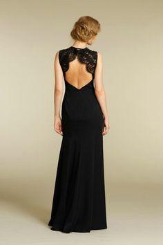 Straps Open Back Floor Length Lace Elegant Black Bridesmaid Dresses Coast