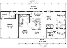 COOL house plans offers a unique variety of professionally designed home plans with floor plans by accredited home designers. Styles include country house plans, colonial, Victorian, European, and ranch. Blueprints for small to luxury home styles. Rectangle House Plans, Simple House Plans, House Plans And More, Southern House Plans, Country Style House Plans, New House Plans, House Floor Plans, Southern Living, Barn Homes Floor Plans