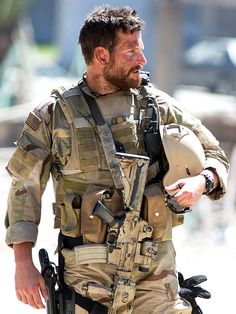 Bradley Cooper as Chris Kyle in American Sniper. Not only am I madly in love with ultrabeefybuff BCoop all over again now, but this movie is PHENOMENAL. New respect for Bradley Cooper as an actor. Bradley Cooper, Clint Eastwood, The Blues Brothers, My Champion, My Sun And Stars, Hommes Sexy, Men In Uniform, Military Men, Military Issue