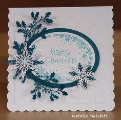 Used Phill Martin's Sentimentally Yours Snowflake Oval Frame Stamp and Sue Wilson dies and embossing folder